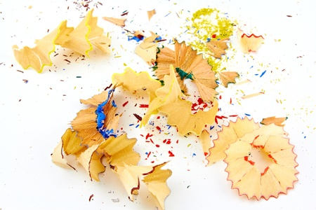 A bunch of colored pencil shavings