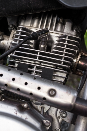 closeup of a 200 cc motorcycle engine photo