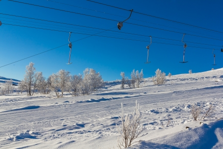 t ski: Drag lift in a Norwegian winter landscape