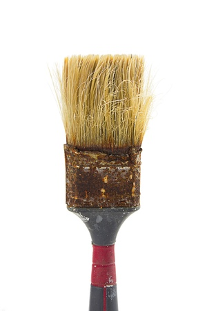 Worn and rusty paint brush on white background