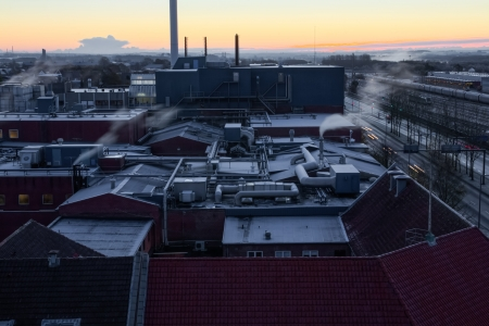 Industrial area on a cold december morning