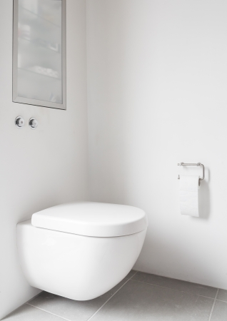 Wall hung toilet with push buttons photo