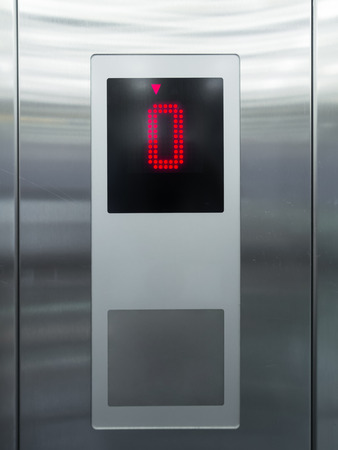 Elevator control panel in stainless steel Stock Photo
