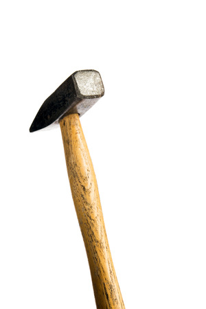 Small list hammer on white background, ready to hit Stock Photo