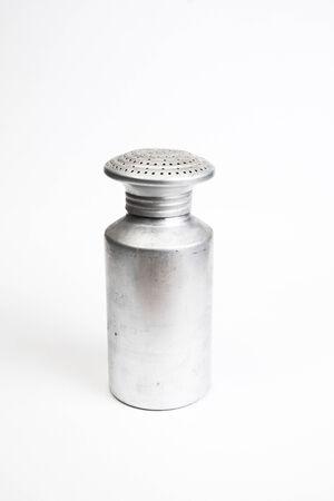 saltshaker: Aluminum saltshaker on white background Stock Photo