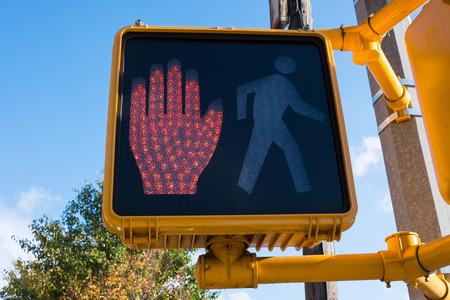 stop light: Stop light for pedestrians on Manhattan
