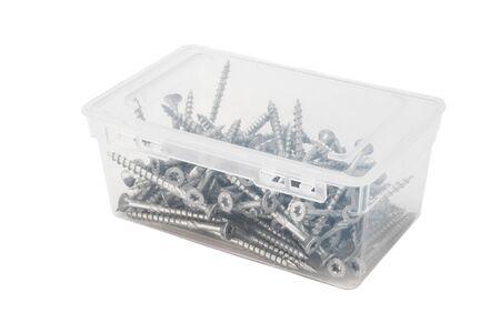 woodscrew: Closed transparent plastic container with torx screws