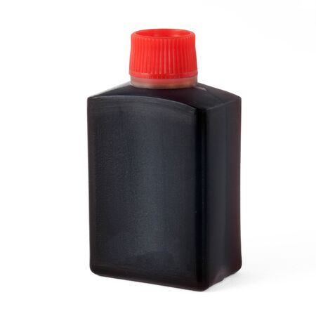 macrophotography: Small plastic bottle with soya sauce for take-away Stock Photo