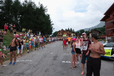 Tour de France 2015 spectators waiting for the peloton to cross the top of Col du Mollard of a mountain stage