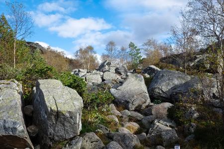 rockslide: big pieces of rocks from a rockslide lying on a hillside near pulpit rock Stock Photo