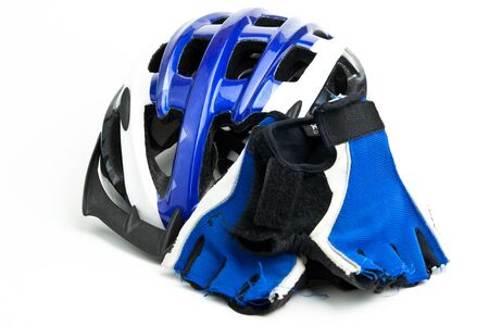 velo: Blue white and black bicycle helmet and gloves