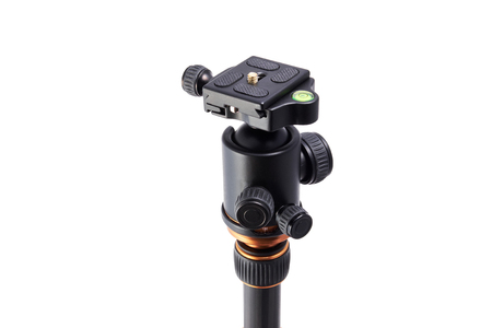 swiss system ball head with libelle on a tripod made of carbon fiber