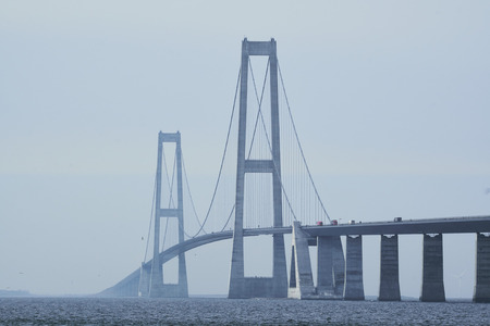 The center of the Great belt bridge zoomed in on from the Sealand side