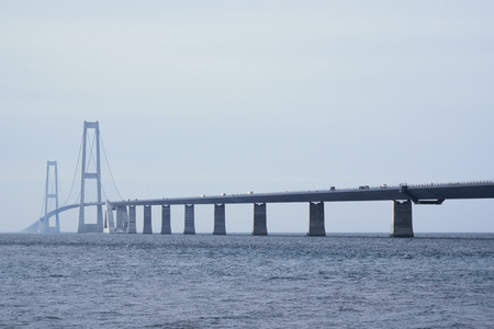 South side view of the Great belt bridge seen from the Sealand side