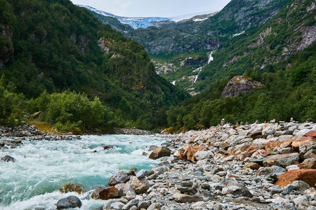 hardanger: Looking at Folgefonna Glacier through Buerdalen in Norway