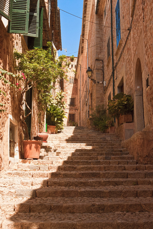 steep: Steep street in a mountain village in Mallorca Stock Photo