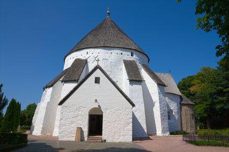 Old danish round church in �sterlars Stock Photo