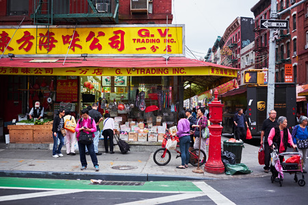 NEW YORK CITY - OCTOBER 15, 2014: chinese grocery trading store on the corner of Grand and Mott Street in Chinatown Editorial