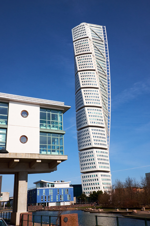MALMO, SWEDEN - MARTS 28, 2014: West Harbour, a living area in southern Sweden with the Turning Torso  skyscraper in the background