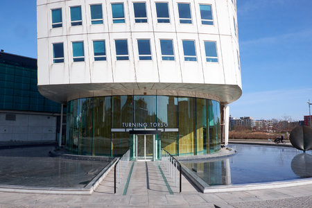 MALMO, SWEDEN - MARTS 28, 2014: Entrance to the Turning Torso Building in West Harbour area in Malmö Sweden Editorial