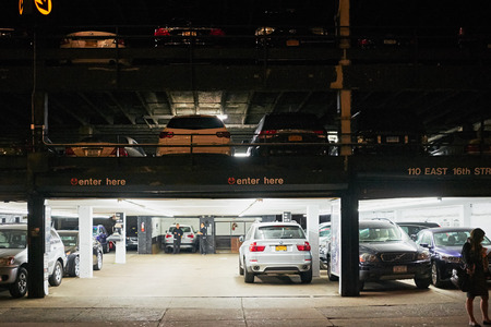 Parking garage entrance at night in New York City