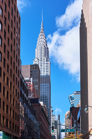 NEW YORK CITY - OCTOBER 16, 2014: view to the Chrysler Building from 2nd Avenue on Manhattan Editorial