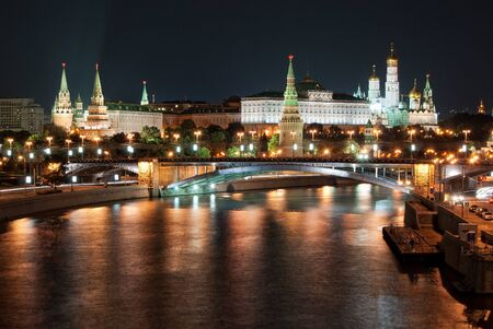 De Moskouse Kremlin by Night