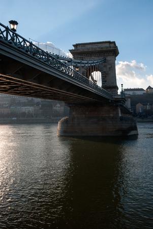 Chain bridge crossing the Danube river, Budapest, Hungary