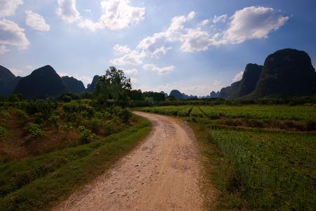Path through rice fields and karst peaks, Yangshuo, China Stockfoto