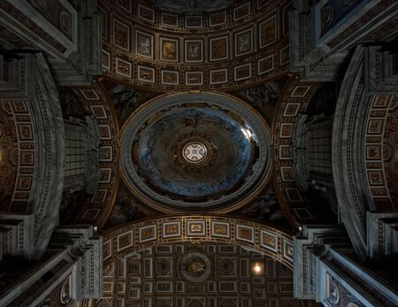 Decorated roof of a church in Rome, Italy