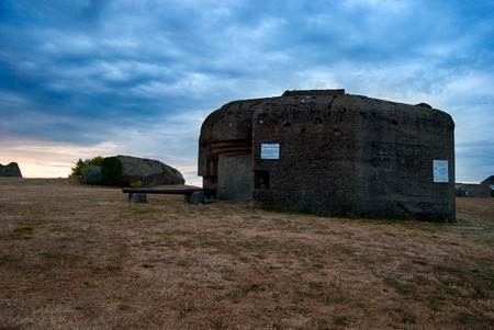 Bunker on a hill at the coast of Normandy, France