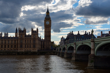 Big Ben and Westminster across the river Thames, London, UK Stock Photo