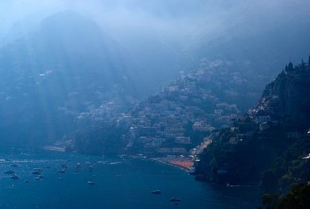 Sunrays at the coast of Amalfi, Italy