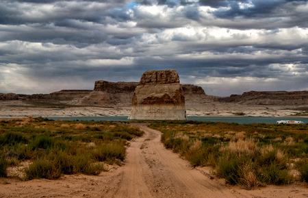 Lone Rock in Lake Powell, Arizona, USA