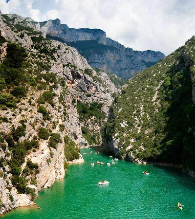 Entrance of the Verdon Gorge canyon at the Lac du Sainte-Croix
