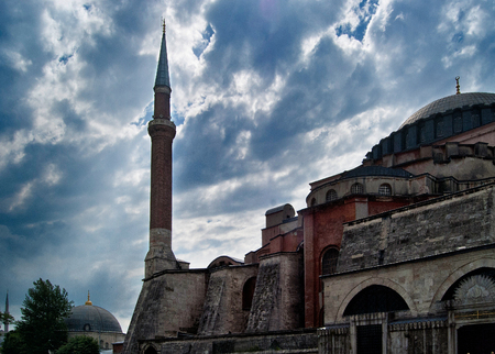 Detail and minaret of the Hagia Sophia mosque in Istanbul, Turkey Stockfoto