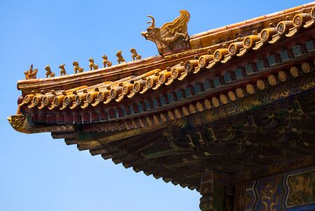 Details of a roof in the forbidden city, China Stockfoto