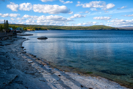 Shore of the Yellowstone Lake with the fishing cone geyser
