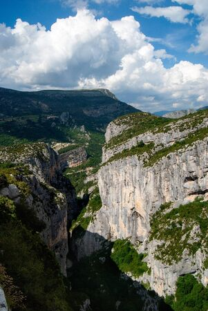 Canyon with steep mountains in the Gorges du Verdon, France