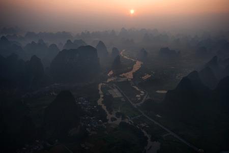 Hot air balloon flight in Yangshuo China