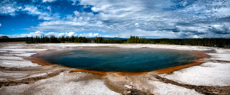 Large blue and orange hot spring in Yellowstone National Park