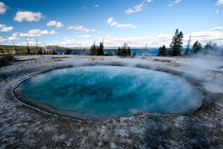 Blue hot spring in Yellowstone National Park