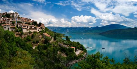 Lac du Sainte-Croix, a beautiful clear blue mountain lake in France