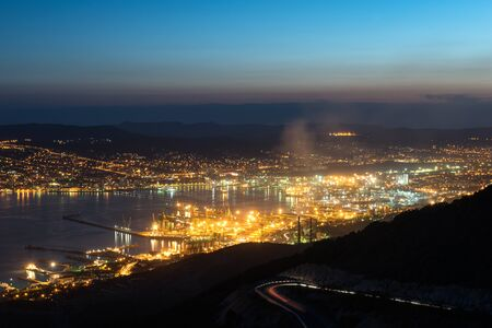 Novorossiysk by Night with a view on the harbor and heavy industry