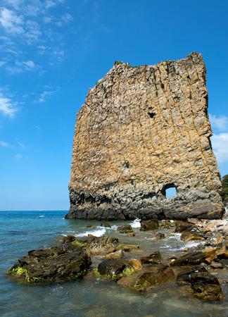 Lone Parus rock at the Black Sea coast Stockfoto