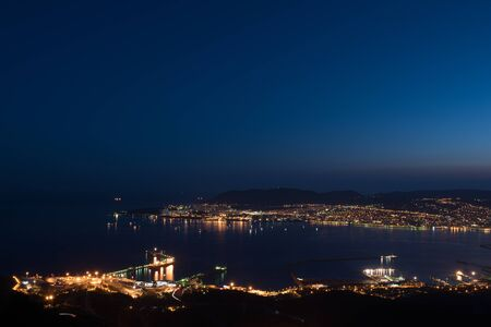Baai van Novorossiysk by Night Stockfoto