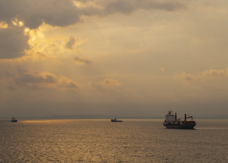 Cargo ships at anchor during sunset