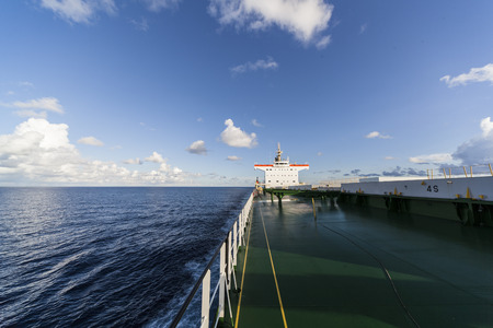 ship bow: Comercial ship underway viewed from bow Stock Photo