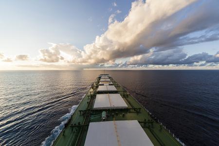 Bulk carrier  underway viewed from bridge