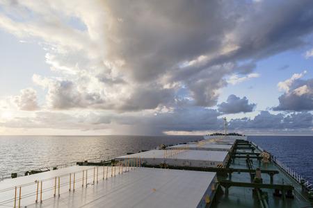 Panamax underway viewed from main deck